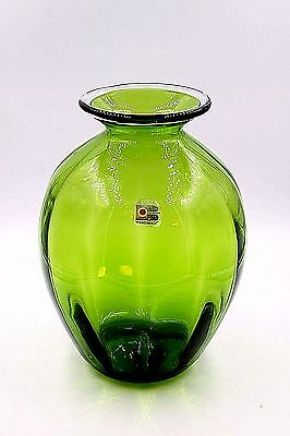 "Blenko Paneled Forest Green Vase With Applied Clear Rim Edging 8 1/4"" Tall Exc."