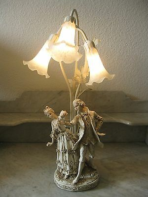Vintage Victorian Antique White Couple Dancing Figural Table Lamp 3 Tulip Shades