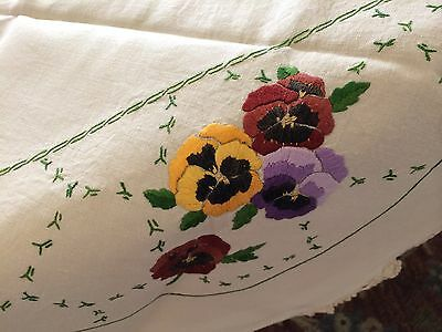 Vintage Tablecloth Embroidery Linen Crochet Edges Pansies