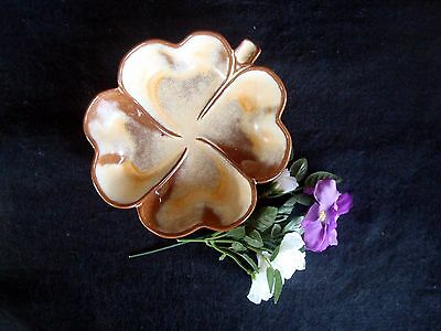 Vintage Frankhoma Art Pottery Gold/Cream Clover Leaf Dish Bowl