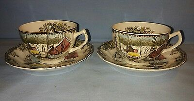 2 sets Vtg Johnson Brothers Friendly Village Ice House Tea cups and Saucers