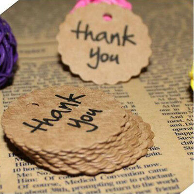 DIY Thank You Brown Bonbonniere 100PCS Tags Paper Wedding Kraft