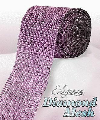 Pale Pink Diamante Rhinestone Effect Bling Mesh Cake Trim Ribbon Wedding