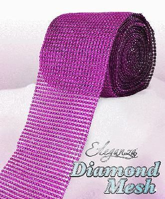 Fuchsia Diamante Rhinestone Effect Bling Mesh Cake Trim Ribbon Wedding