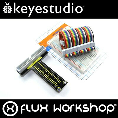Keyestudio Raspberry Pi GPIO Breakout Board Adaptor Set 40 A+ 400 Flux Workshop