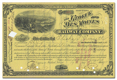Keokuk and Des Moines Railway Company Stock Certificate