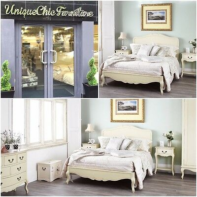 Cream Wooden painted 5ft King Size French Style Bed Rochelle Bedroom Furniture