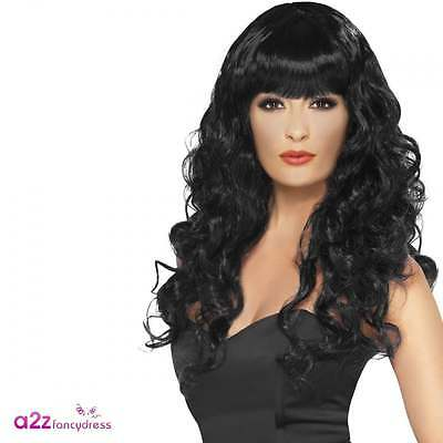 Womens Black Siren Wig Gothic Witch Adult Halloween Fancy Dress Accessory