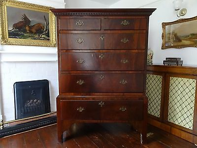 PERIOD GEORGE III FLAME MAHOGANY CHEST ON STAND - Hewetsons, London - Circa 1820