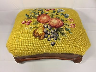 Antique C Newbold Empire Footstool Embroidery Top Mid 1800s