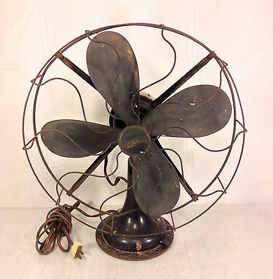 Vintage Westinghouse Oscillating Cast Base Fan Running Wood Blades