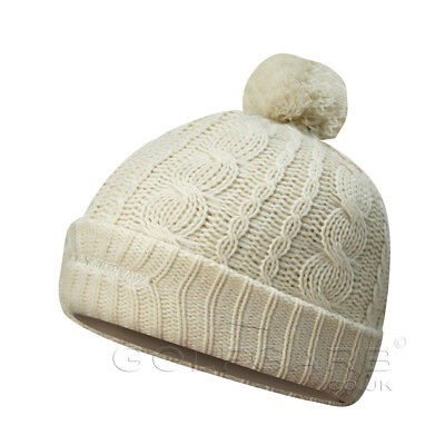 Glenmuir Ladies Bobble Hat in Chunky Cable Knit in Ivory