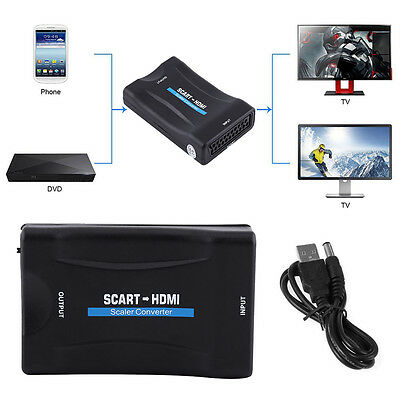 Scart to HDMI Audio Video Converter Scaler Adapter 720P 1080P With USB Cable SG