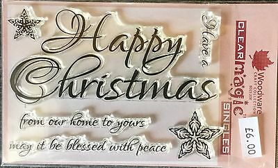 Woodware Clear Magic Script Happy Christmas stamp FRS297