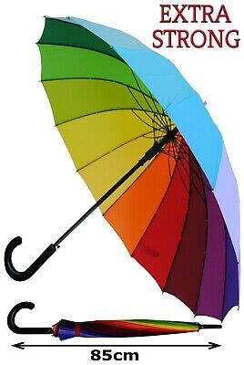 Collar And Cuffs London - Strong Windproof Automatic Rainbow Umbrella Rrp £50