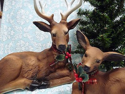 Vintage 1989 Aldon Porcelain Reindeer Buck And Baby Set With Tree, Snow & Box