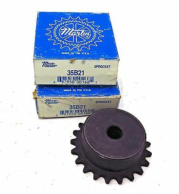 "Martin 35B21 Sprocket 3/8"" Pitch x 21 Tooth x 1/2"" Bore (2) Free Shipping"