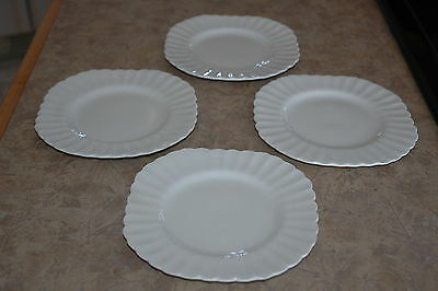 """J & G Meakin - England - CLASSIC WHITE - 7"""" Square Dessert Plates (4) w/ FLAWS!!"""