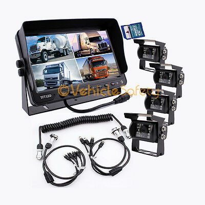 "The 5th Wheel Camera System 9"" Monitor with DVR + 4x Cameras + 4AV Trailer Cable"
