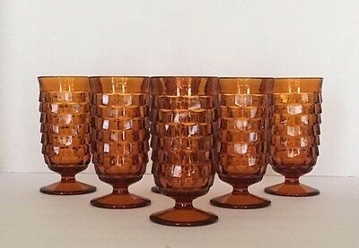 Vintage Indiana Glass Whitehall Footed Amber Tumbler 7 oz JUICE Glasses Set