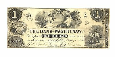 1854 $1 THE BANK OF WASHTENAW MICHIGAN Obsolete Currency Banknote A No 6383