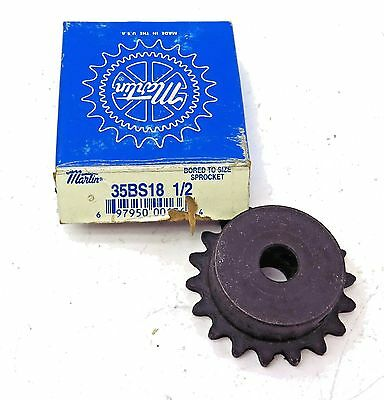 "Martin 35BS18 1/2 Sprocket 3/8"" Pitch x 18 Tooth x 1/2"" Bore Free Shipping"