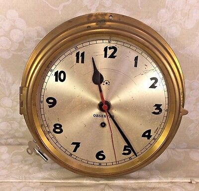 "Vintage Observer Ship's Clock 10""  Runs Time Only Brass Case"