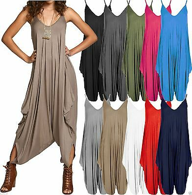 Women Ladies Hareem Romper All in one Jumpsuit Dress Play suit Baggy Plus 8-26