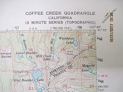 "Coffee Creek Quadrangle US Geological Topographic Color Map 18"" x 22"" - 1955"