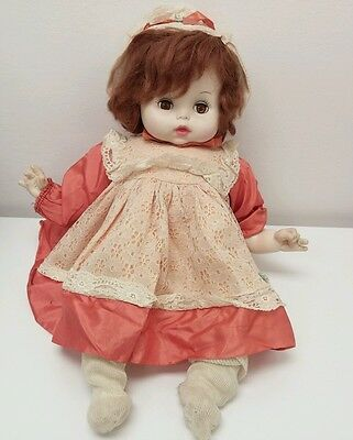 "Vintage Horsman Baby Doll Peach Dress and Lace 18"" Rare Collector Doll Decor"