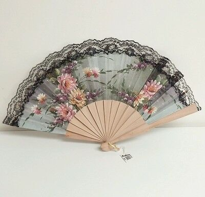 Vintage Spanish Japanese Floral Lace Wood Folding Hand Fan Ruston's Tag