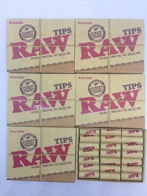 6 pack RAW Natural Unrefined Pre-Rolled Tips 21 Tips /box 126 Tips