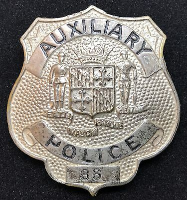 VINTAGE OBSOLETE AUXILIARY POLICE 36 Maryland Collector's Police Badge