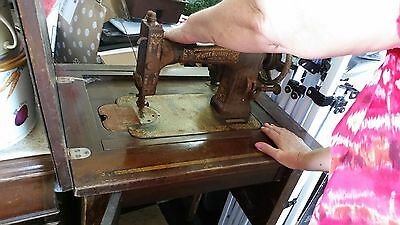 Antique White Rotary Sewing Machine, missing one knob on cabinet. Storage