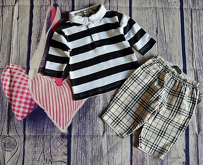 Burberry Baby Boys Designer Clothes Bundle Striped Top Check Pants 3 Months Good