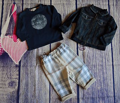 Burberry Baby Boys Designer Clothes Bundle T-shirt Jacket Reversible Pants 9 Mts