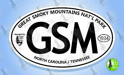 """GREAT SMOKY MOUNTAINS NATIONAL PARK Oval Sticker Euro Travel Decal 3-5/8"""" x 6"""""""