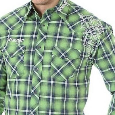 MP1288M Wrangler LOGO Green & Navy Plaid L/Sleeve RODEO Western SHIRT 2XL