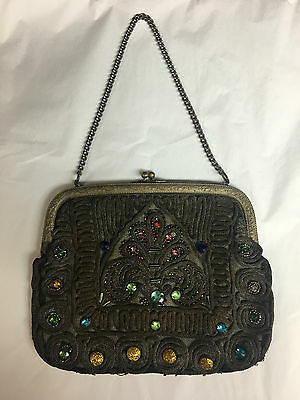 Antique Mesh Hand Bag With Colored Glass Jewels