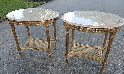 Pair Of Vintage Regency Style Gilt Wood and Marble Top with Quartz Side Tables