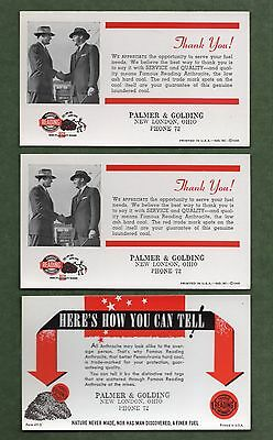 """3 1940's FAMOUS READING ANTHRACITE COAL Unused Blotters - 3½""""x6"""", Great Cond"""