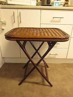Antique Art Deco Cane Bamboo Butlers Table Side Table