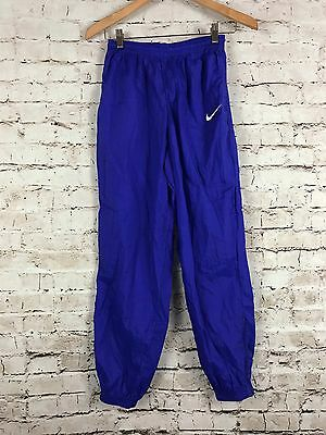 Vintage 90's Nike Kids Blue Windbreaker Unlined Track Pants Joggers Sz L (14)
