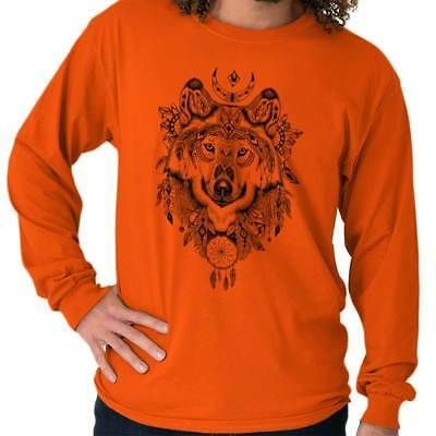 Native American Dreamcatcher Wolf Spirit Feather Symbol Long Sleeve T-Shirt T