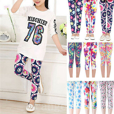 Toddler Baby Girl Floral Print Leggings Tight Long Pants Soft Stretchy Trousers