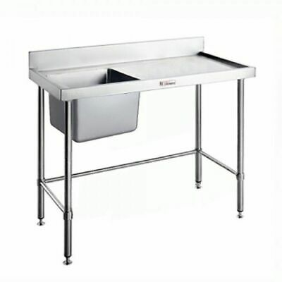 Single Sink Left Bowl w Leg Brace & Splashback 1200x600x900mm Simply Stainless