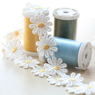 Chic Daisy Lace Trim 1 Yard Sew On Flower Applique Embroidered Clothes Decor