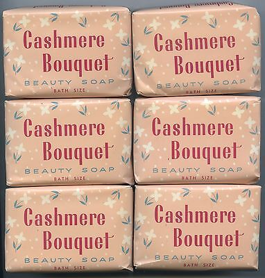 1960's Vintage Aust Packaging 6 Unopened Bath Size Cakes Cashmere Bouquet Soap.
