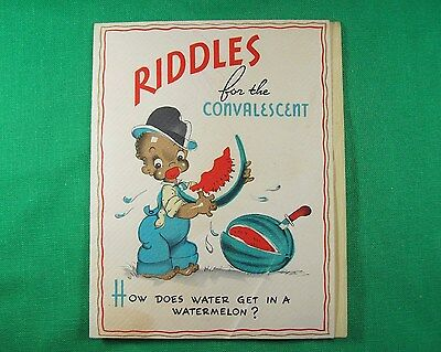 Racist Black Americana 1940s GET WELL CARD African American Boy Watermelon Baker