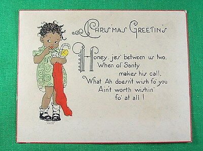 Racist Black Americana 1930s CHRISTMAS CARD ~ Girl Toy Stocking African American